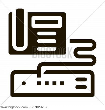 Home Telephone And Video Recorder Connection Glyph Icon Vector. Home Telephone And Video Recorder Co