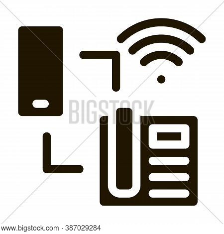 Smartphone And Home Telephone Wi-fi Connection Glyph Icon Vector. Smartphone And Home Telephone Wi-f