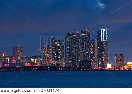 Miami Night Downtown. Skyline City Miami Lighting Lights Sea Ocean Sunset Night Cityscape Buildings