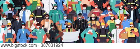 Mix Race People Of Different Occupations Standing Together Labor Day Celebration Concept Men Women W
