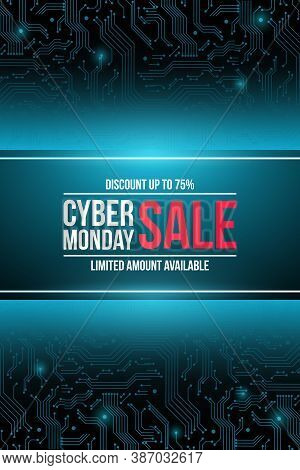 Vector Sale Technology Flyer For Cyber Monday. Abstract Blue Template For Promo Posters, Banners And