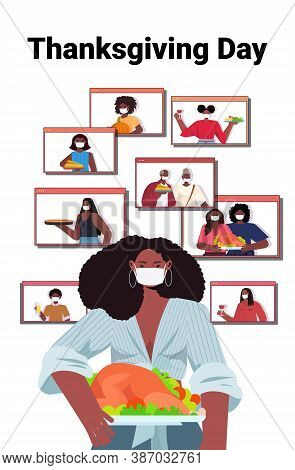 Woman In Mask Discussing With Family During Video Call People Celebrating Happy Thanksgiving Day Onl
