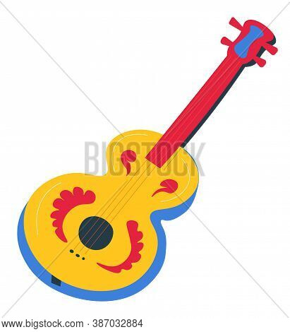Acoustic Guitar With Ornaments And Floral Decoration Vector
