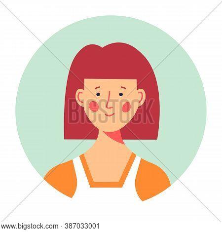 Modest Female Character Portrait, Redhead Girl Circle Photo