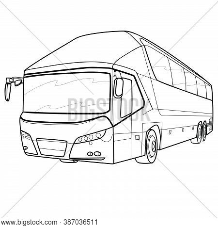 Bus Sketch, Coloring Book, Cartoon Illustration, Isolated Object On White Background, Vector Illustr
