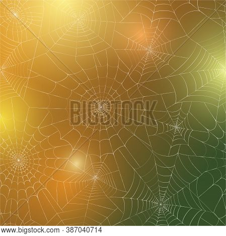 Seamless Pattern With Spider Web. Halloween Decoration With Cobweb. Spiderweb Flat Vector Illustrati