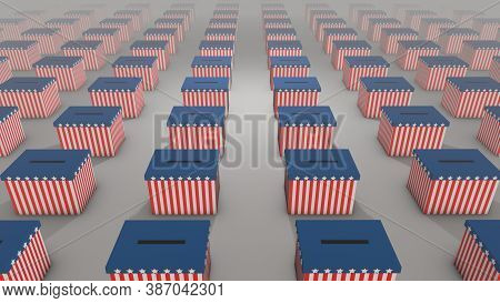 Array Of Ballot Boxes Stretching To The Horizon On Election Day