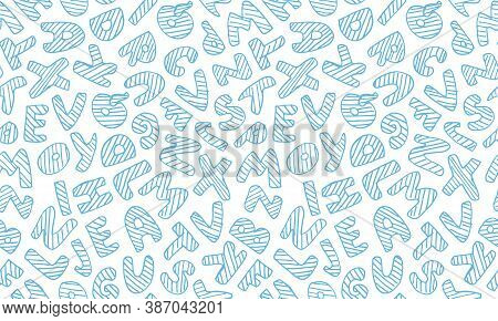 Vector Hand Drawn Alphabet. Seamless Pattern With English Abcs. Simple Typographic Design Of Latin C
