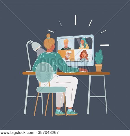 Vector Illustration Of Woman Speak With Her Team. Online Virtual Meetings, Working Home. Teleconfere
