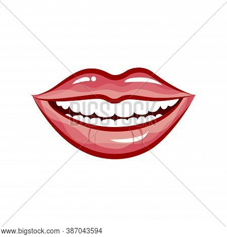 Woman Smile Isolated In White Background. Vector Beautiful Cartoon Mouth Smiling For Logo Dental Cli