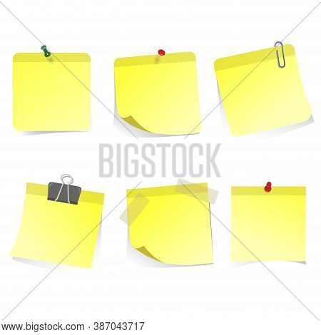 Yellow Stickers Glued Clip Pin And Scotch. Pin Sticker Office, Blank Empty Isolated, Yellow Page Not