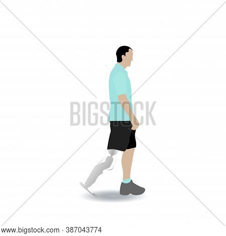 Man With Leg Prothesis Walking Isolated On White Background. Prosthesis Leg, Walking Disabled, Perso