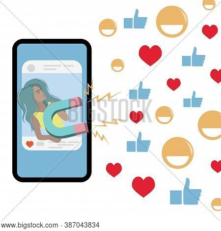 Blogger Girl Attracts Followers Likes Use Magnet In Social Media. Vector Blogging And Attracting Fol