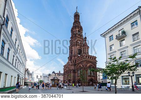 Kazan, Russia - July 15, 2018: Belltower Of Epiphany Church On Bauman Street In The Heart Of Kazan,