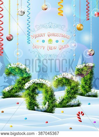 New Year 2021 Of Christmas Tree Twigs In Snow. Winter Landscape With Pine Branches, Decoration And C