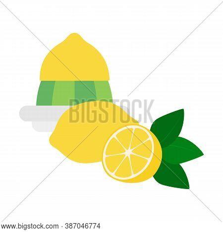 Flat Icon Lemon Squeezer With Whole Lemon And Half Of Lemon Isolated On White Background. The Half O