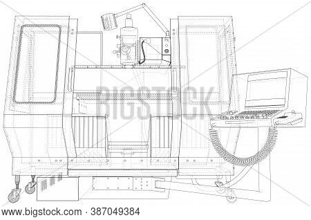 Industrial Cnc Machining. Milling Machine. Wire-frame. The Layers Of Visible And Invisible Lines Are