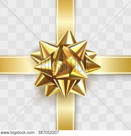 Glossy Golden Bow Knot. Glowing Bow With Two Gold Ribbons Isolated On Transparent Background. Festiv