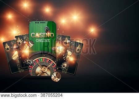 Creative Background, Online Casino, Smartphone With Playing Cards Roulette And Chips, Black Gold Bac
