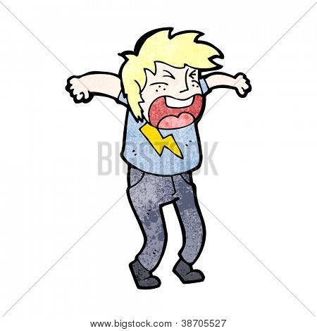 shouting blond person