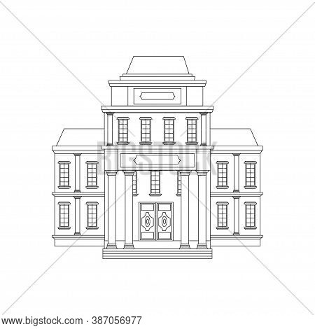 Building Of Museum In Vector Design. Graphic Architecture, Public Place, History. Decorated With Col