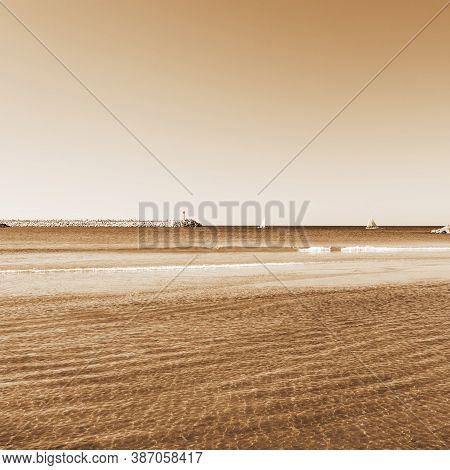 Beach Of Mediterranean Sea In Israel, Vintage Style Sepia