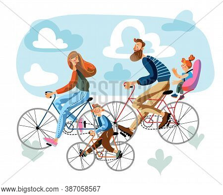 Parents And Children Rides Bicycles In Park. Dad, Mom, Son And Daughter Pastime, Sport Together, Hea
