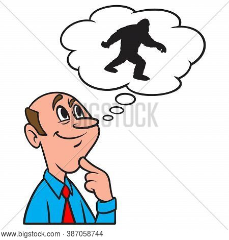 Thinking About Boggy Creek Monster - A Cartoon Illustration Of A Man Thinking About The Boggy Creek