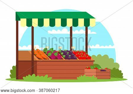 Seasonal Farmer Organic Food Street Local Market. Vector Stand With Vegetable. Open Air Farm Shop Fo