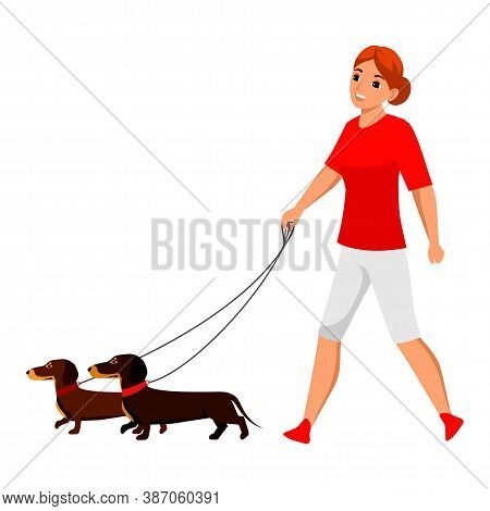 Vector Young Woman Pet Owner Character Walking With Dog. Active Doggy Playing. Lady With Canine Anim