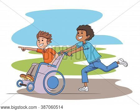 Disabled And Healthy Boy Playing In Yard Together. Afro-american Kid Riding Fast Caucasian Friend In