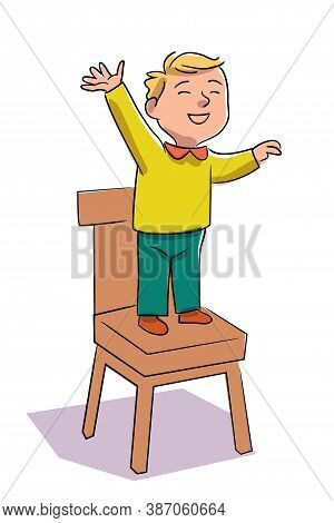 Happy Smiling Kid Standing On Chair Isolated On White Background. Cute Fun Humorous Adorable Prescho