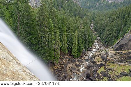 Vernal Falls, Iconic Waterfall In Yosemite National Park, California, Usa