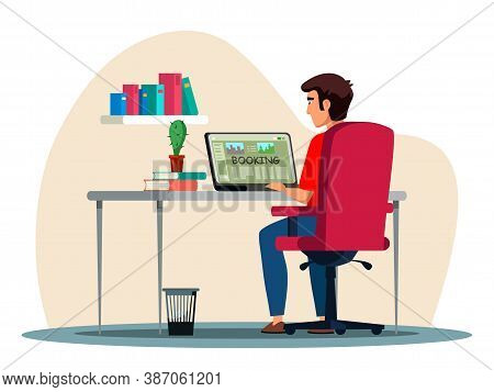 Vector Man Character Going To Trip Booking Tour Online. Travel Agency Service. Guy Sitting Front Of