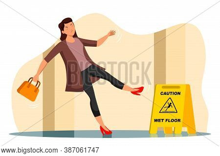 Vector Inattentive Slipped Young Woman Falling On Wet Floor In Corridor. Yellow Stop Ahead Warning S