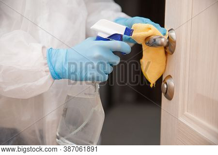Disinfection And Cleaning Door Handles Of House From Infection With Virus And Microbes In Biochemica