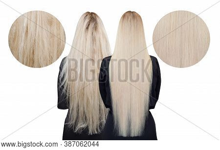 Sick, Cut And Healthy Hair Care Keratin. Before And After Treatment. White Isolated Background