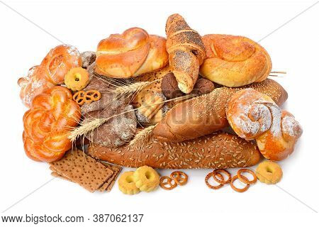 Assortment Of Bread, Baguette, Buns, Croissant, Biscuits, Biscuits, Biscuits, Pastries, Muffins Isol