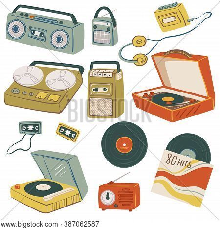 Old Magnetophones And Tape Recorders, Vintage Gadgets Vector