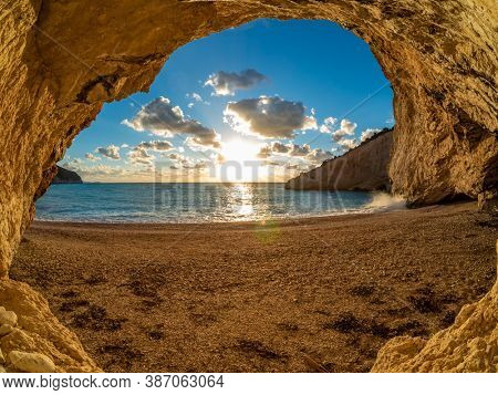 Porto Katsii beach on the island of Lefkas in Greece at sunset