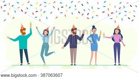 Happy Birthday. The company of young people celebrates the holiday. Happy Birthday . Happy Birthday background . Happy Birthday banner . Happy Birthday design . Happy Birthday design . Happy Birthday image . Happy Birthday template . Abstract colorful bir