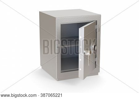 Empty Open Safe Box Isolated On A White Background. 3d Illustration.