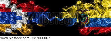 Nagorno-karabakh, Artsakh Vs Ecuador, Ecuadorian Smoky Mystic Flags Placed Side By Side. Thick Color