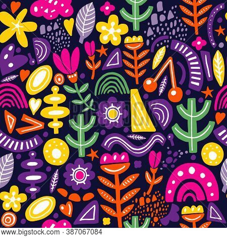 Collage Style Seamless Pattern With Abstract And Organic Shapes In Bright Color On Dark. Modern And