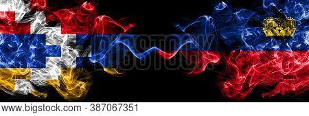 Nagorno-karabakh, Artsakh Vs Liechtenstein, Liechtensteins Smoky Mystic Flags Placed Side By Side. T