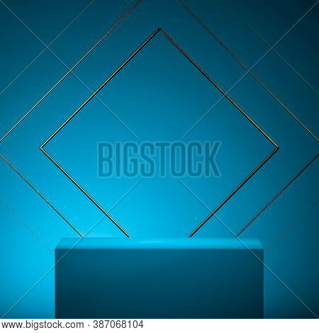 Blue Turquois Foursquare Showcase With Empty Space On Pedestal Near Blue Geometric Background. Showc