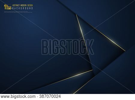 Abstract Premium Gradient Classic Blue Template Overlap With Gold Glitters Decoration Background. De