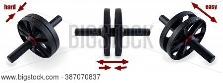 Ab Roller With Double Wheel Isolated On White Background. Collapsible Fitness Trainer Made Of Black