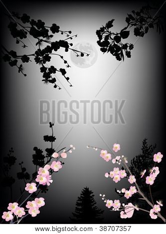 illustration with cherry tree flowers on dark background