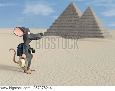 3d Rendering Of A Cute Cartoon Mouse Holding A Hat And A Camera, Looking Like A Tourist With His Bac